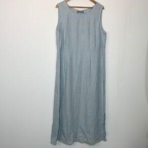Carol Anderson Baby Blue Linen Maxi Dress Size XL